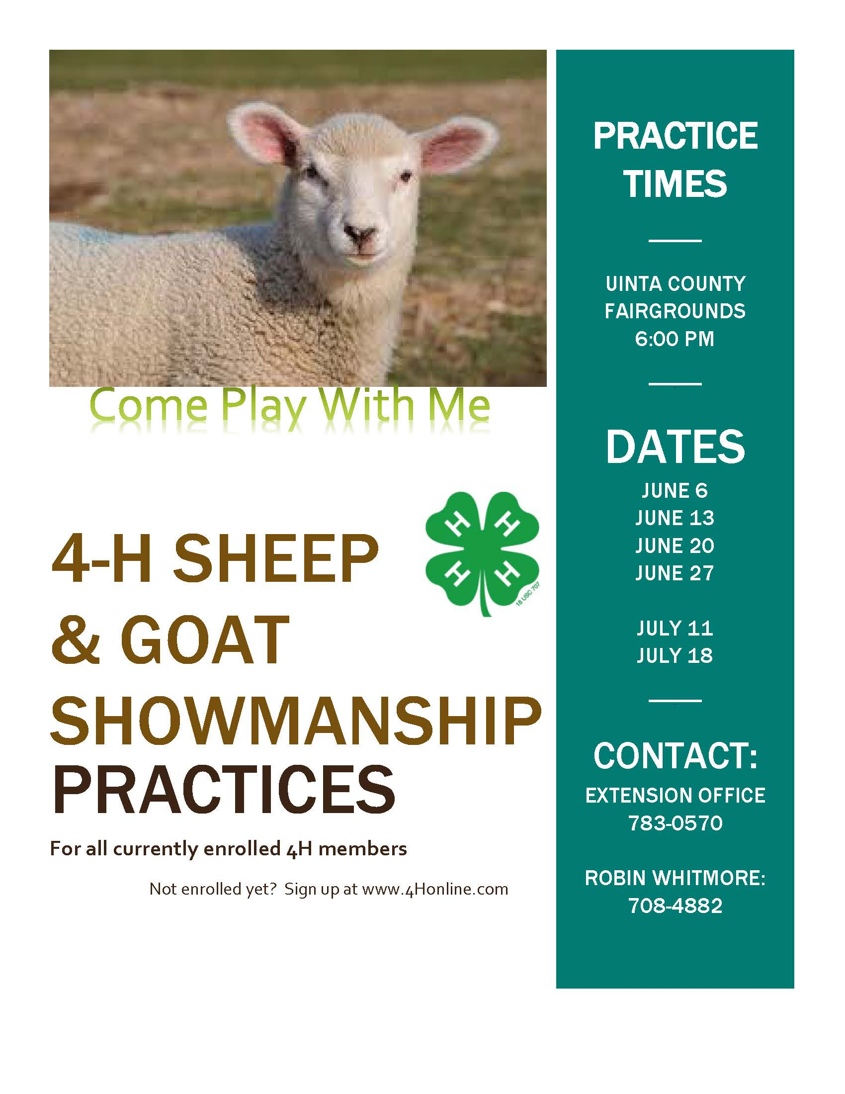 2019 Sheep-Goat Showmanship Practices Flyer
