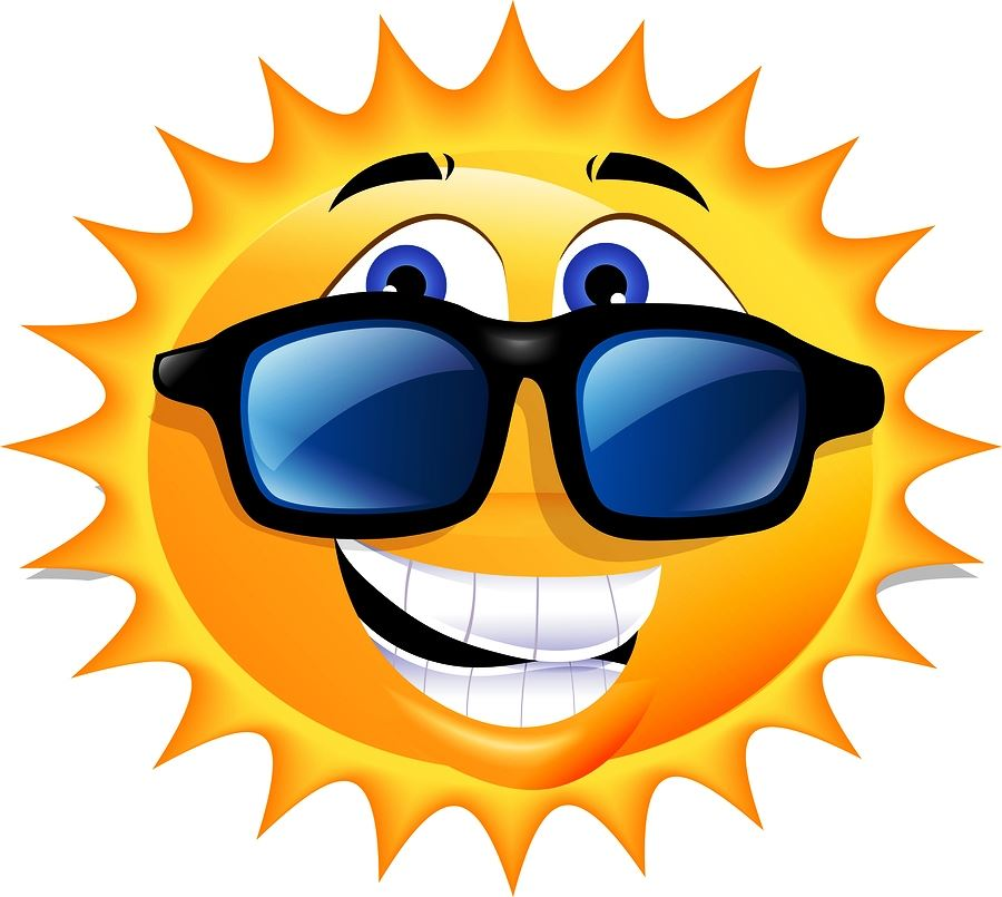 Sun graphic wearing sunglasses and a smile